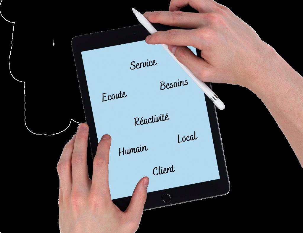 tablette avec description de la vision d'entreprise